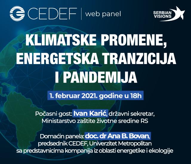 "CEDEF WEB PANEL ""KLIMATSKE PROMENE, ENERGETSKA TRANZICIJA I PANDEMIJA"""